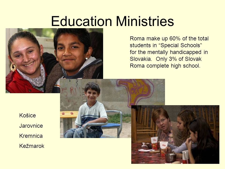 Education Ministries Roma make up 60% of the total students in Special Schools for the mentally handicapped in Slovakia. Only 3% of Slovak Roma comple