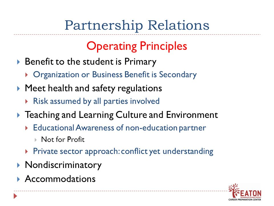 Partnership Relations Operating Principles Benefit to the student is Primary Organization or Business Benefit is Secondary Meet health and safety regulations Risk assumed by all parties involved Teaching and Learning Culture and Environment Educational Awareness of non-education partner Not for Profit Private sector approach: conflict yet understanding Nondiscriminatory Accommodations