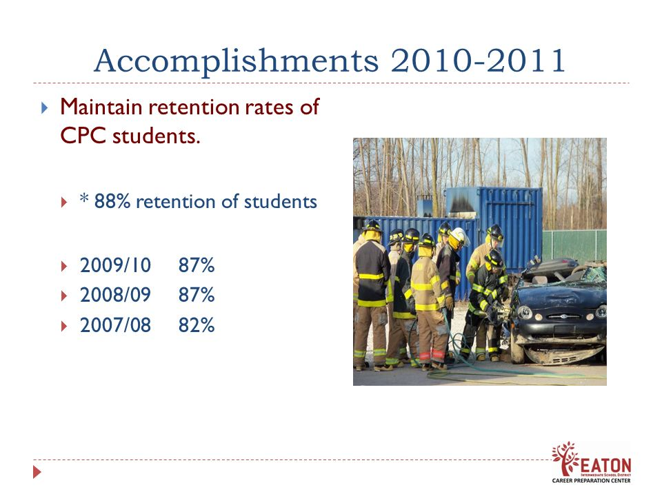 Accomplishments 2010-2011 Maintain retention rates of CPC students. * 88% retention of students 2009/10 87% 2008/09 87% 2007/08 82%