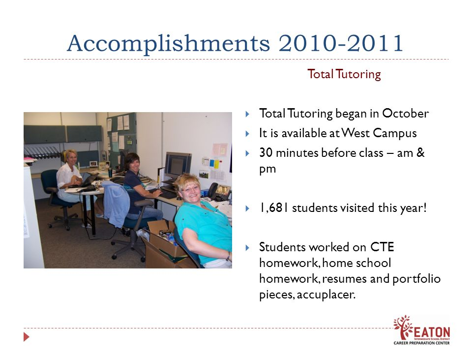 Accomplishments 2010-2011 Total Tutoring Total Tutoring began in October It is available at West Campus 30 minutes before class – am & pm 1,681 studen