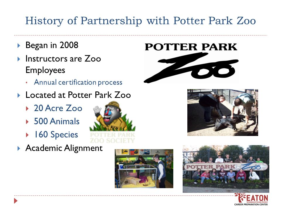 History of Partnership with Potter Park Zoo Began in 2008 Instructors are Zoo Employees Annual certification process Located at Potter Park Zoo 20 Acr