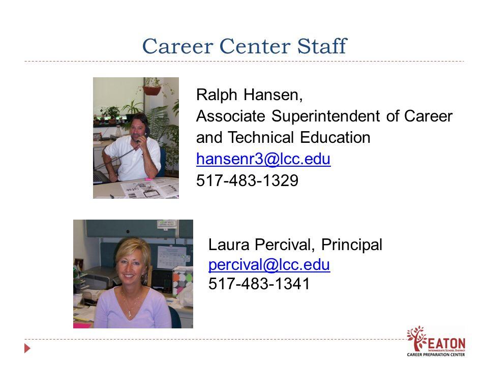Career Center Staff Ralph Hansen, Associate Superintendent of Career and Technical Education hansenr3@lcc.edu 517-483-1329 Laura Percival, Principal percival@lcc.edu 517-483-1341