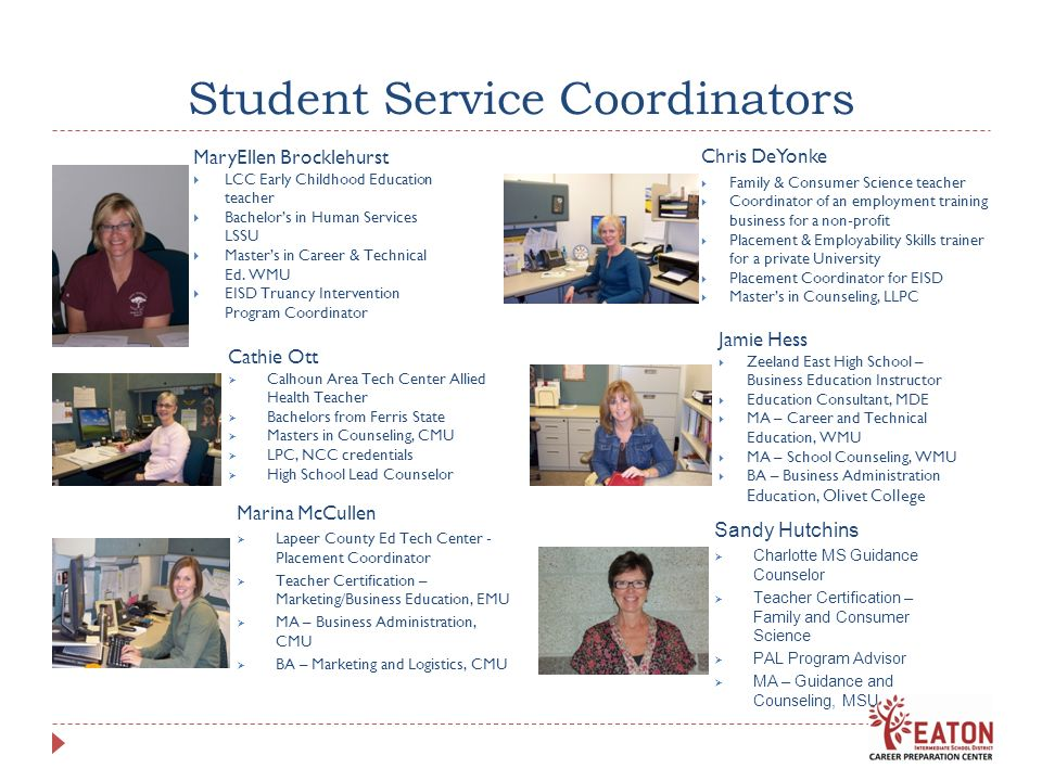 Student Service Coordinators MaryEllen Brocklehurst LCC Early Childhood Education teacher Bachelors in Human Services LSSU Masters in Career & Technic