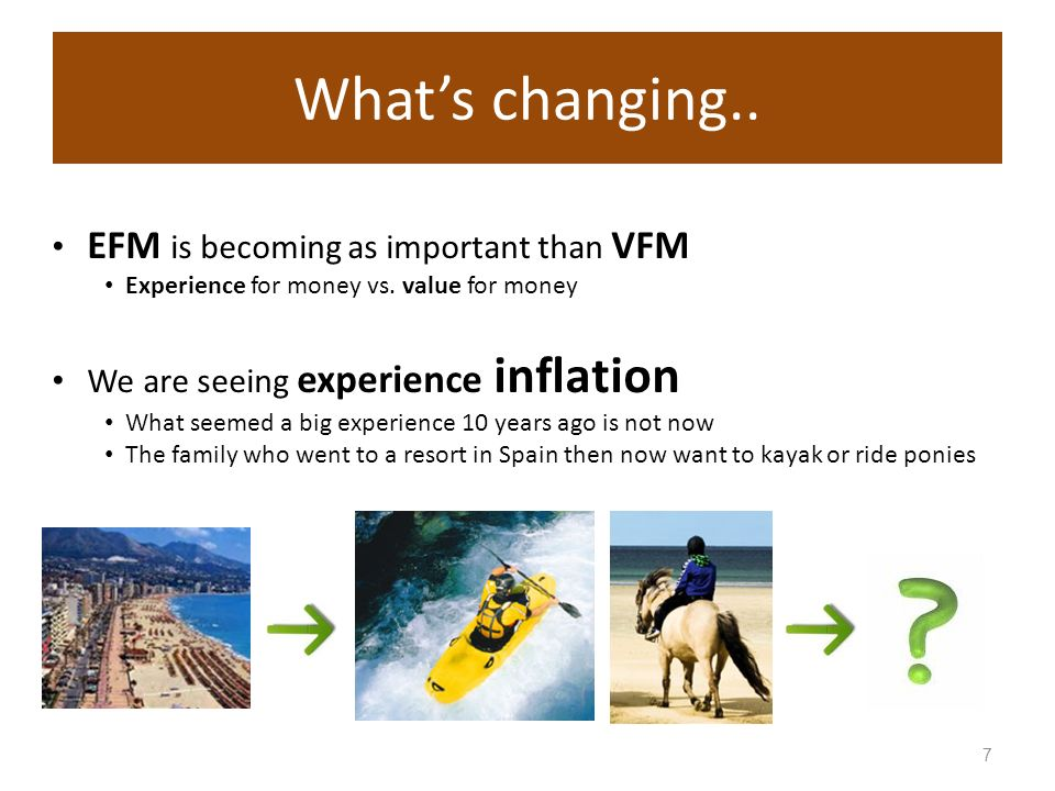 7 Whats changing.. EFM is becoming as important than VFM Experience for money vs.