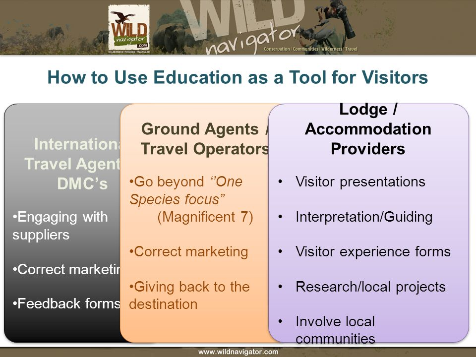 How to Use Education as a Tool for Visitors International Travel Agents / DMCs Engaging with suppliers Correct marketing Feedback forms International Travel Agents / DMCs Engaging with suppliers Correct marketing Feedback forms Ground Agents / Travel Operators Go beyond One Species focus (Magnificent 7) Correct marketing Giving back to the destination Ground Agents / Travel Operators Go beyond One Species focus (Magnificent 7) Correct marketing Giving back to the destination Lodge / Accommodation Providers Visitor presentations Interpretation/Guiding Visitor experience forms Research/local projects Involve local communities Lodge / Accommodation Providers Visitor presentations Interpretation/Guiding Visitor experience forms Research/local projects Involve local communities