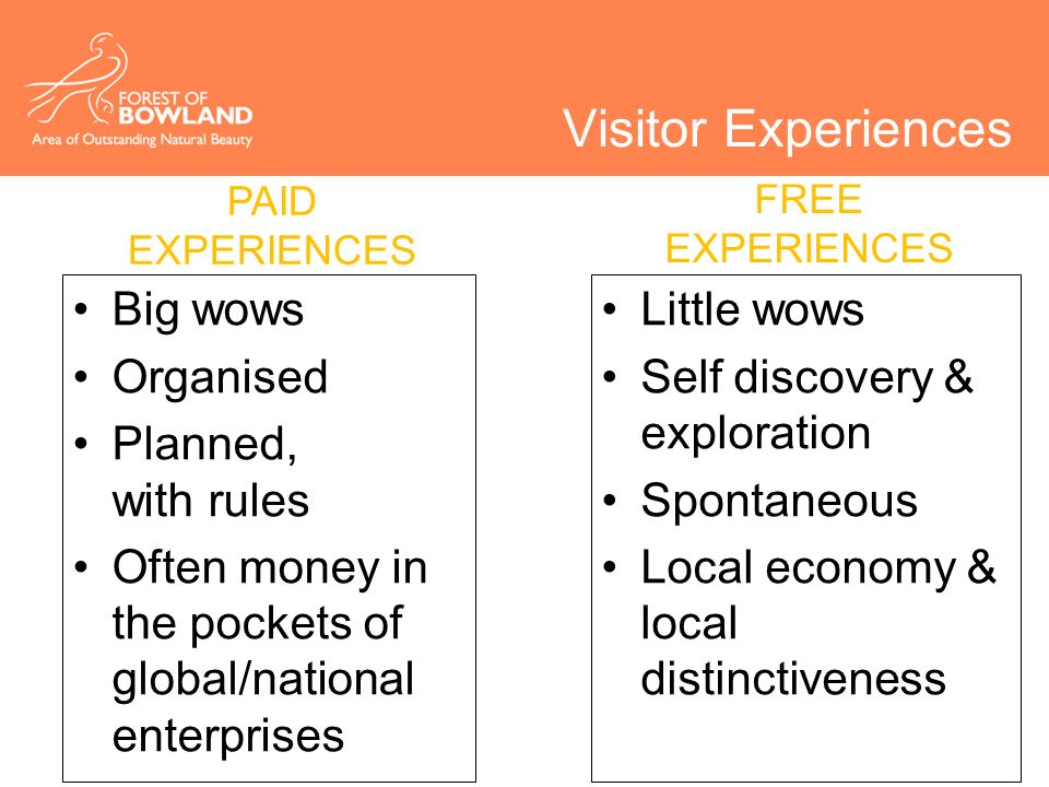 Visitor Experiences Big wows Organised Planned, with rules Often money in the pockets of global/national enterprises Little wows Self discovery & expl