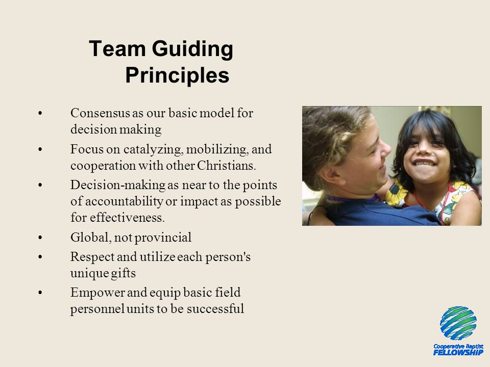 Team Guiding Principles Consensus as our basic model for decision making Focus on catalyzing, mobilizing, and cooperation with other Christians.