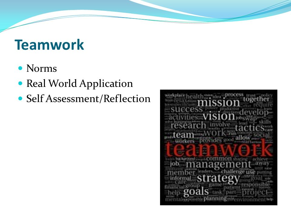 Teamwork Norms Real World Application Self Assessment/Reflection