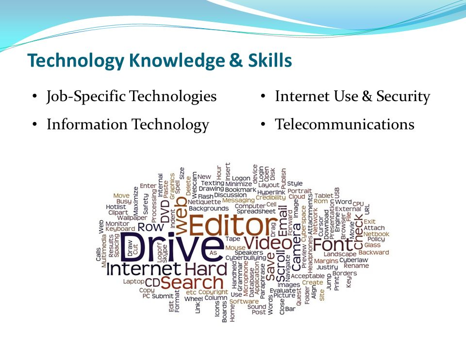 Technology Knowledge & Skills Job-Specific Technologies Information Technology Internet Use & Security Telecommunications