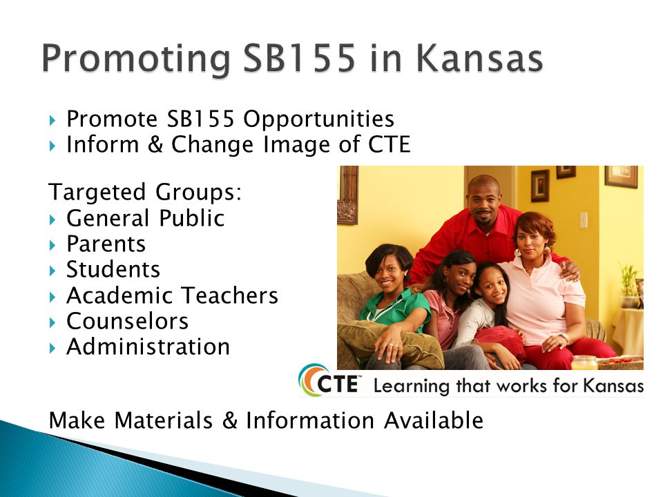 Promote SB155 Opportunities Inform & Change Image of CTE Targeted Groups: General Public Parents Students Academic Teachers Counselors Administration Make Materials & Information Available