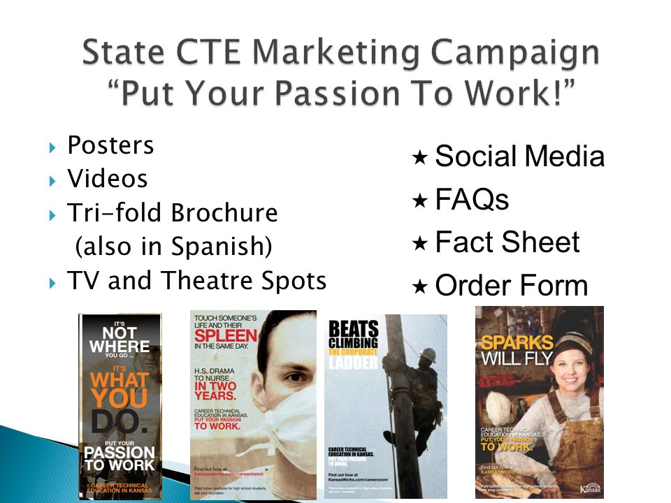Posters Videos Tri-fold Brochure (also in Spanish) TV and Theatre Spots Social Media FAQs Fact Sheet Order Form
