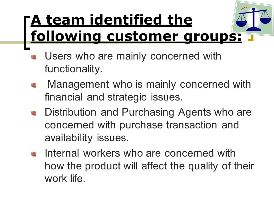 A team identified the following customer groups: Users who are mainly concerned with functionality. Management who is mainly concerned with financial