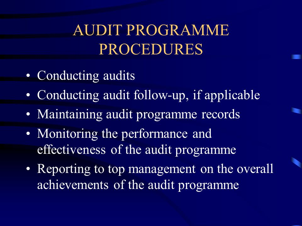 AUDIT PROGRAMME PROCEDURES Conducting audits Conducting audit follow-up, if applicable Maintaining audit programme records Monitoring the performance