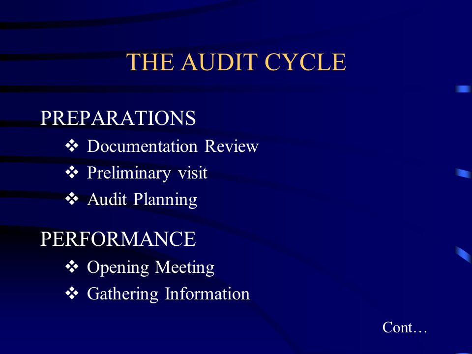 THE AUDIT CYCLE PREPARATIONS Documentation Review Preliminary visit Audit Planning PERFORMANCE Opening Meeting Gathering Information Cont…