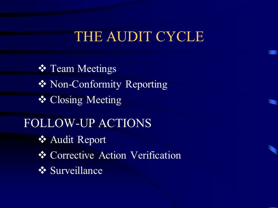 THE AUDIT CYCLE Team Meetings Non-Conformity Reporting Closing Meeting FOLLOW-UP ACTIONS Audit Report Corrective Action Verification Surveillance