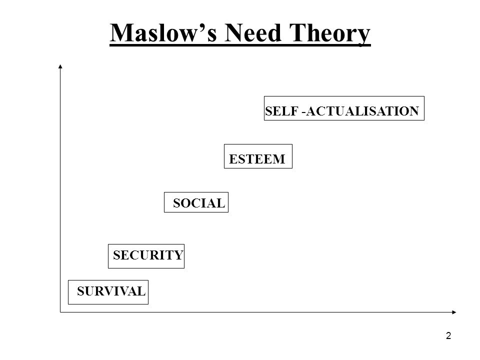 2 Maslows Need Theory SURVIVAL SECURITY SOCIAL ESTEEM SELF -ACTUALISATION