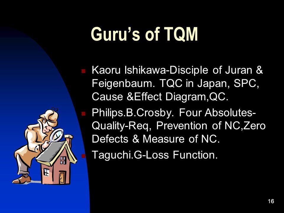 16 Gurus of TQM Kaoru Ishikawa-Disciple of Juran & Feigenbaum. TQC in Japan, SPC, Cause &Effect Diagram,QC. Philips.B.Crosby. Four Absolutes- Quality-