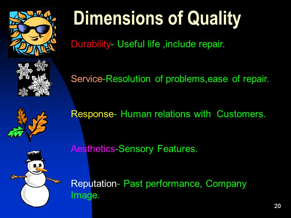 20 Dimensions of Quality Durability- Useful life,include repair. Service-Resolution of problems,ease of repair. Response- Human relations with Custome