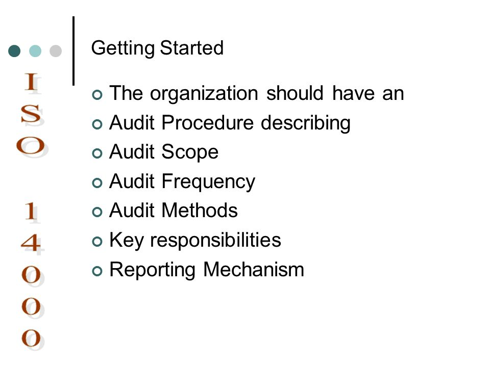 Getting Started The organization should have an Audit Procedure describing Audit Scope Audit Frequency Audit Methods Key responsibilities Reporting Me