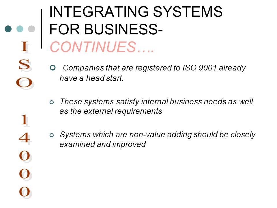 INTEGRATING SYSTEMS FOR BUSINESS- CONTINUES…. Companies that are registered to ISO 9001 already have a head start. These systems satisfy internal busi