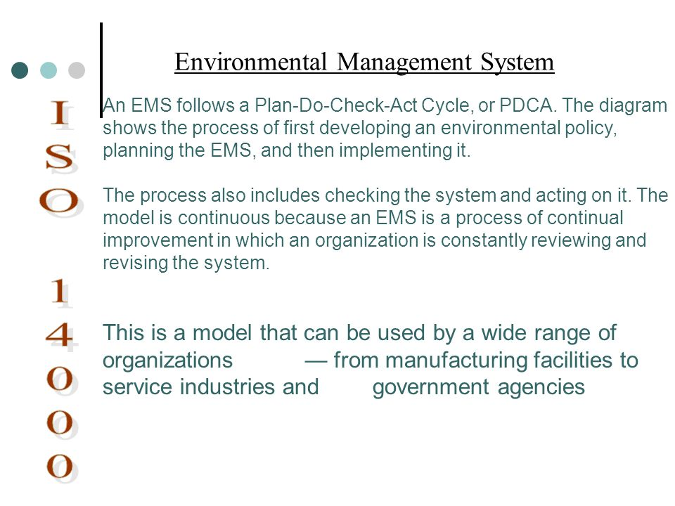 An EMS follows a Plan-Do-Check-Act Cycle, or PDCA. The diagram shows the process of first developing an environmental policy, planning the EMS, and th