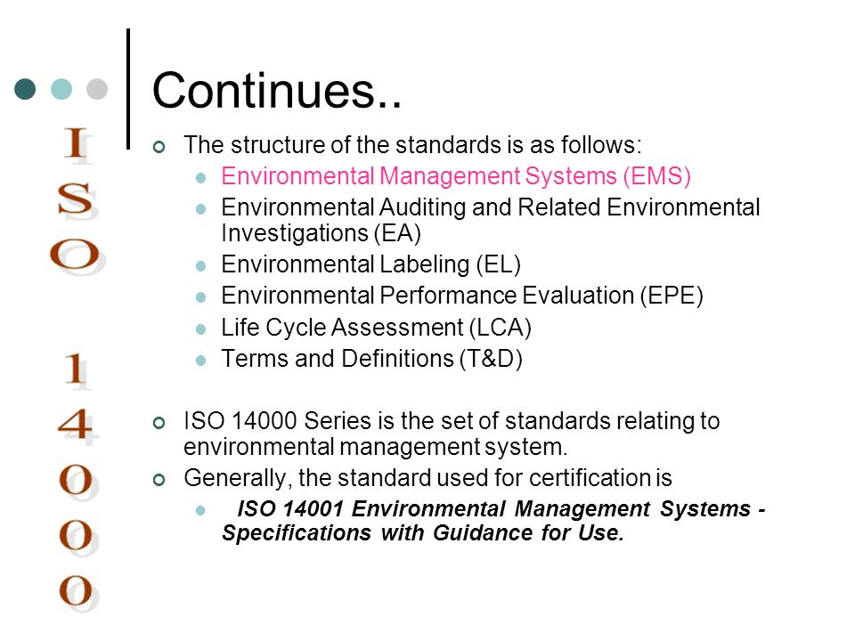 Continues.. The structure of the standards is as follows: Environmental Management Systems (EMS) Environmental Auditing and Related Environmental Inve