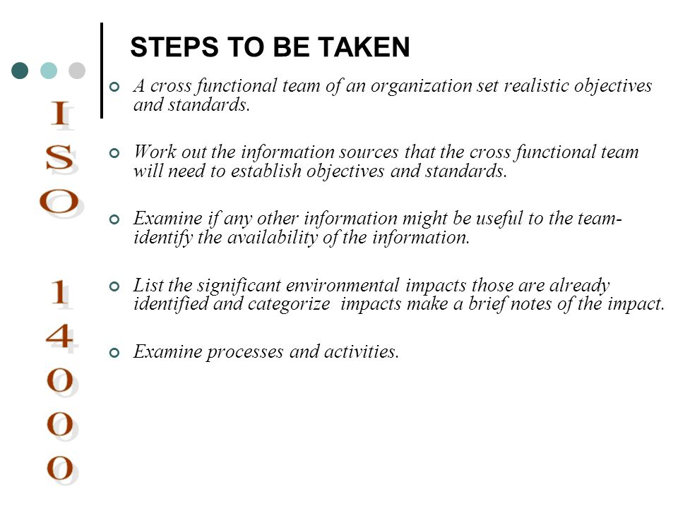 STEPS TO BE TAKEN A cross functional team of an organization set realistic objectives and standards. Work out the information sources that the cross f