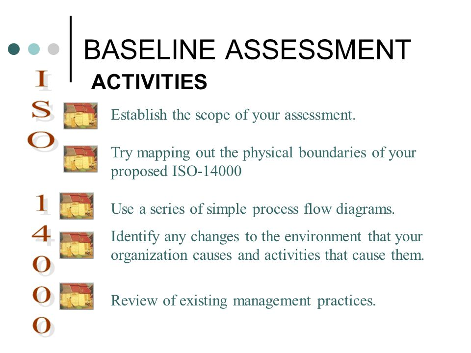BASELINE ASSESSMENT ACTIVITIES Establish the scope of your assessment. Try mapping out the physical boundaries of your proposed ISO-14000 Use a series