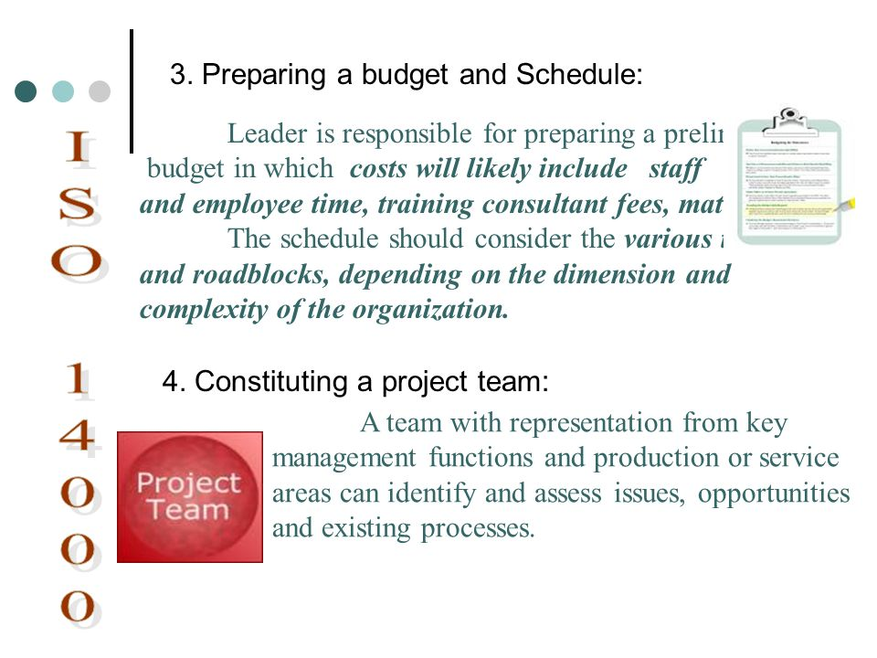 Leader is responsible for preparing a preliminary budget in which costs will likely include staff and employee time, training consultant fees, materia