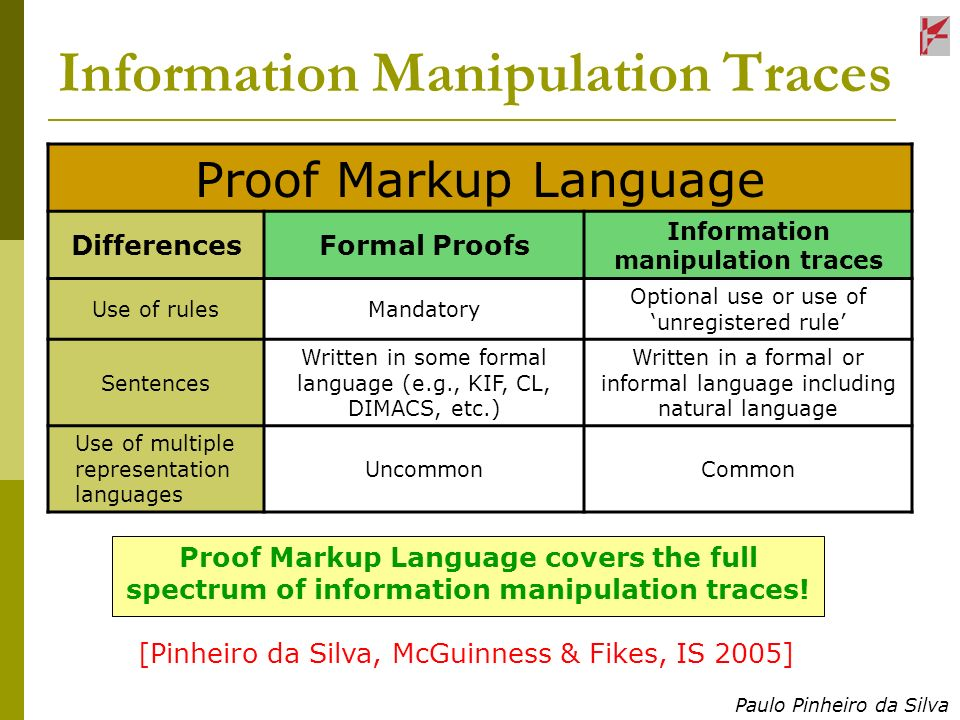 Paulo Pinheiro da Silva Information Manipulation Traces Proof Markup Language DifferencesFormal Proofs Information manipulation traces Use of rulesMandatory Optional use or use of unregistered rule Sentences Written in some formal language (e.g., KIF, CL, DIMACS, etc.) Written in a formal or informal language including natural language Use of multiple representation languages UncommonCommon Proof Markup Language covers the full spectrum of information manipulation traces.