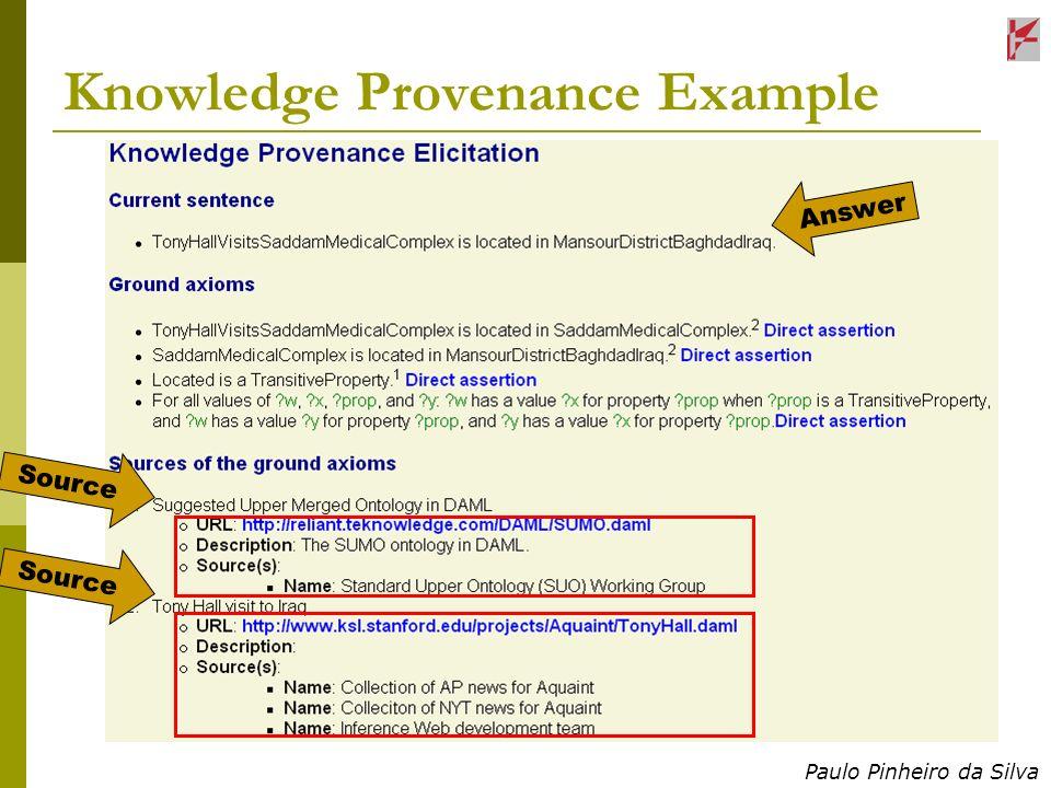 Paulo Pinheiro da Silva Knowledge Provenance Example Answer Source