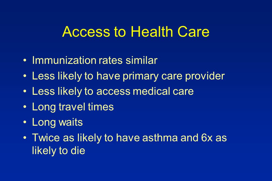 Access to Health Care Immunization rates similar Less likely to have primary care provider Less likely to access medical care Long travel times Long waits Twice as likely to have asthma and 6x as likely to die