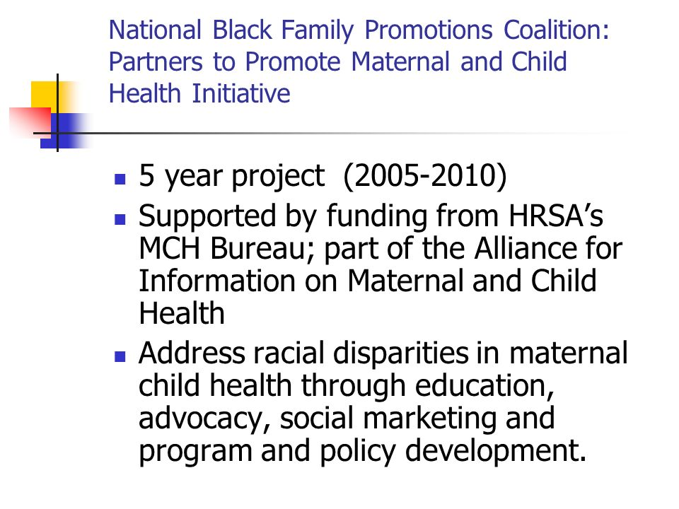 National Black Family Promotions Coalition: Partners to Promote Maternal and Child Health Initiative 5 year project (2005-2010) Supported by funding from HRSAs MCH Bureau; part of the Alliance for Information on Maternal and Child Health Address racial disparities in maternal child health through education, advocacy, social marketing and program and policy development.