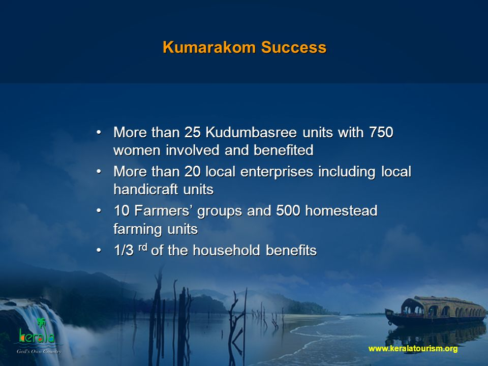 Kumarakom Success More than 25 Kudumbasree units with 750 women involved and benefited More than 20 local enterprises including local handicraft units 10 Farmers groups and 500 homestead farming units 1/3 rd of the household benefits More than 25 Kudumbasree units with 750 women involved and benefited More than 20 local enterprises including local handicraft units 10 Farmers groups and 500 homestead farming units 1/3 rd of the household benefits