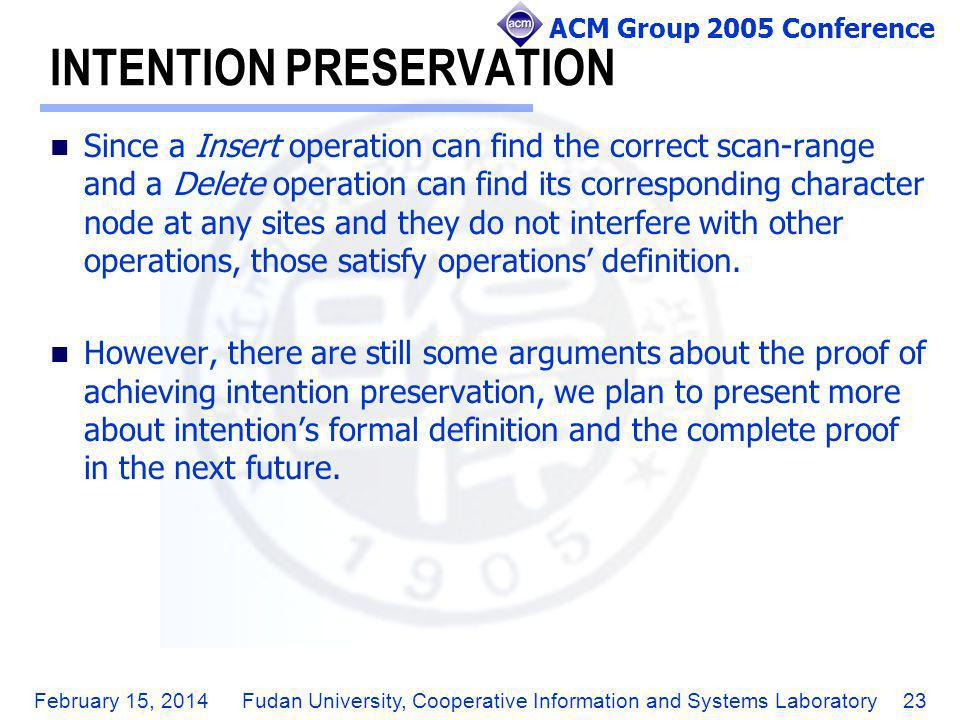 ACM Group 2005 Conference February 15, 2014Fudan University, Cooperative Information and Systems Laboratory23 INTENTION PRESERVATION Since a Insert op