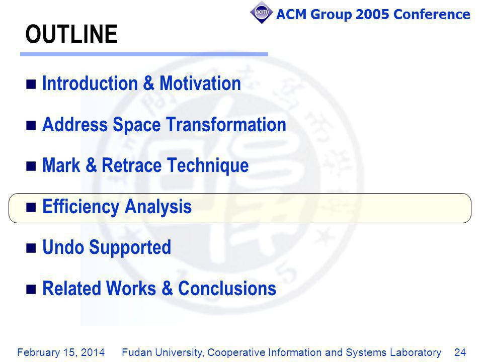 ACM Group 2005 Conference February 15, 2014Fudan University, Cooperative Information and Systems Laboratory24 OUTLINE Introduction & Motivation Addres
