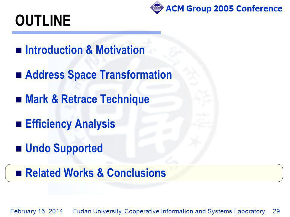 ACM Group 2005 Conference February 15, 2014Fudan University, Cooperative Information and Systems Laboratory29 OUTLINE Introduction & Motivation Addres