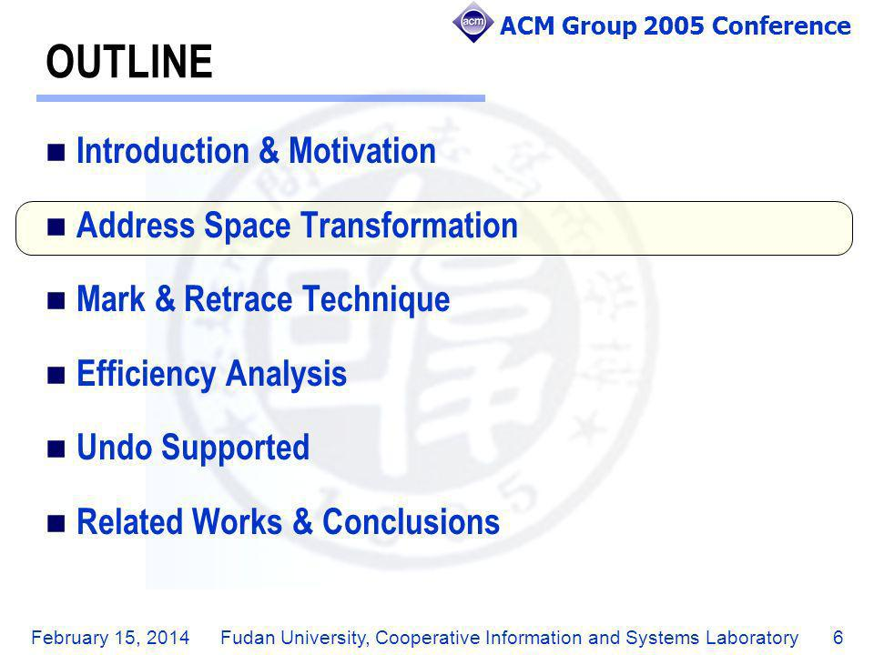 ACM Group 2005 Conference February 15, 2014Fudan University, Cooperative Information and Systems Laboratory7 ADDRESS SPACE TRANSFORMATION Example 1: Initial document is abd.
