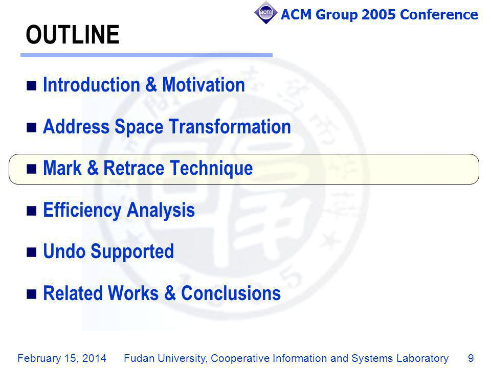 ACM Group 2005 Conference February 15, 2014Fudan University, Cooperative Information and Systems Laboratory10 THE STRUCTURE OF MARK & RETRACE A document is a liner structure composed of characters.