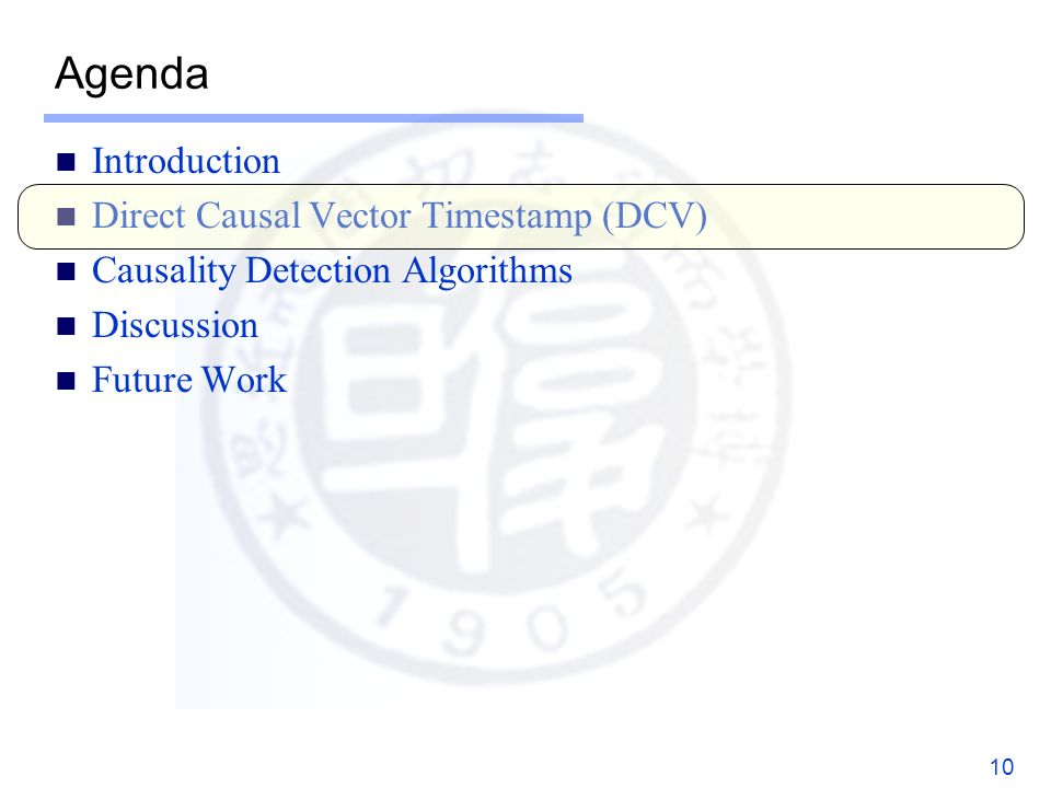 Agenda Introduction Direct Causal Vector Timestamp (DCV) Causality Detection Algorithms Discussion Future Work 10