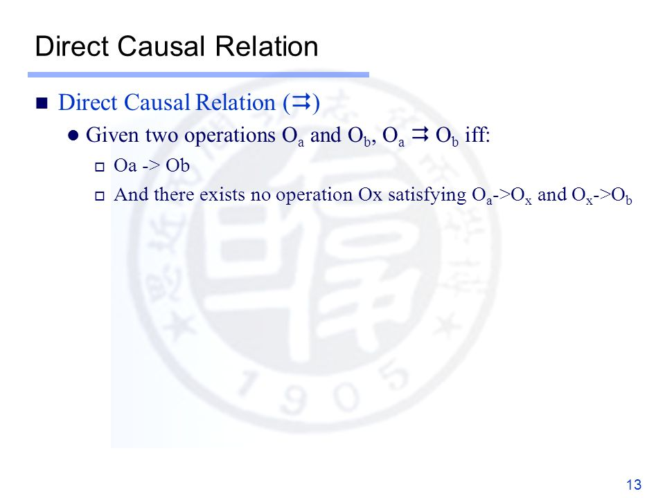 Direct Causal Relation Direct Causal Relation ( ) Given two operations O a and O b, O a O b iff: Oa -> Ob And there exists no operation Ox satisfying O a ->O x and O x ->O b 13