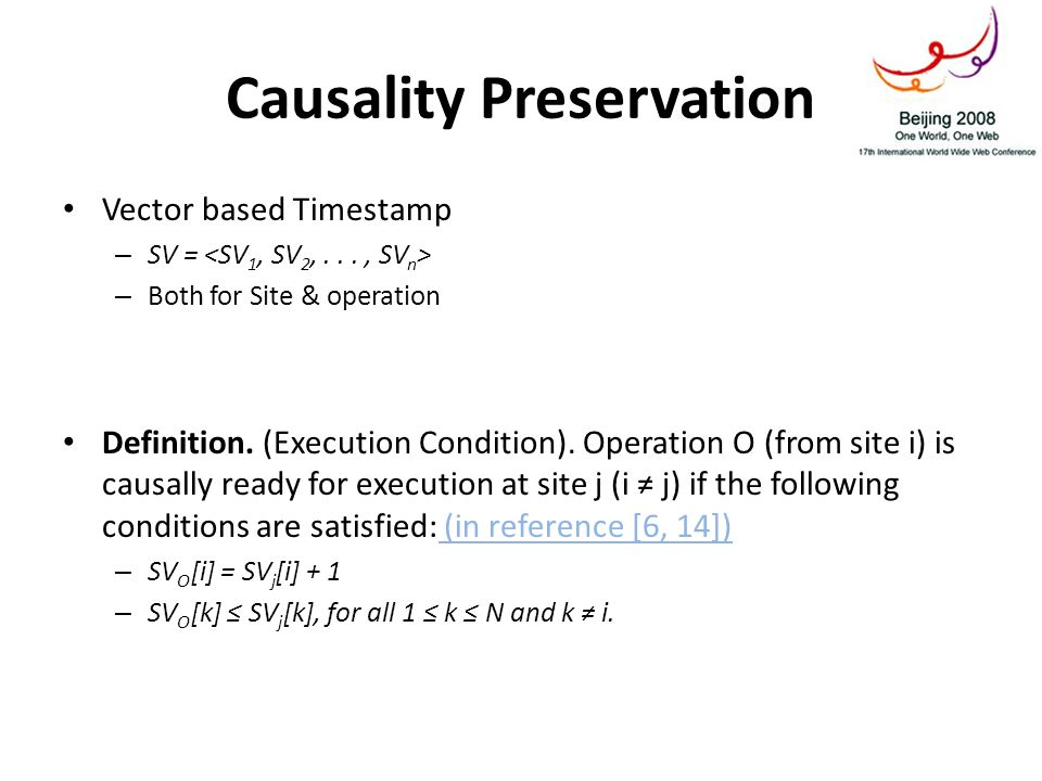 Causality Preservation Vector based Timestamp – SV = – Both for Site & operation Definition.