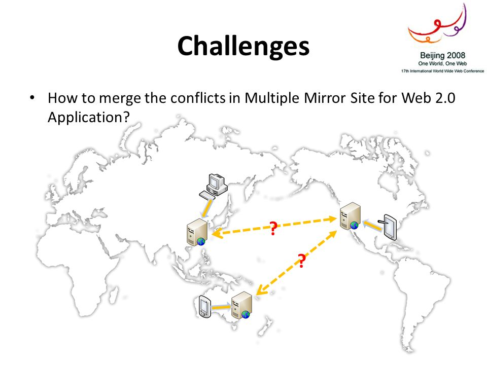 Challenges How to merge the conflicts in Multiple Mirror Site for Web 2.0 Application