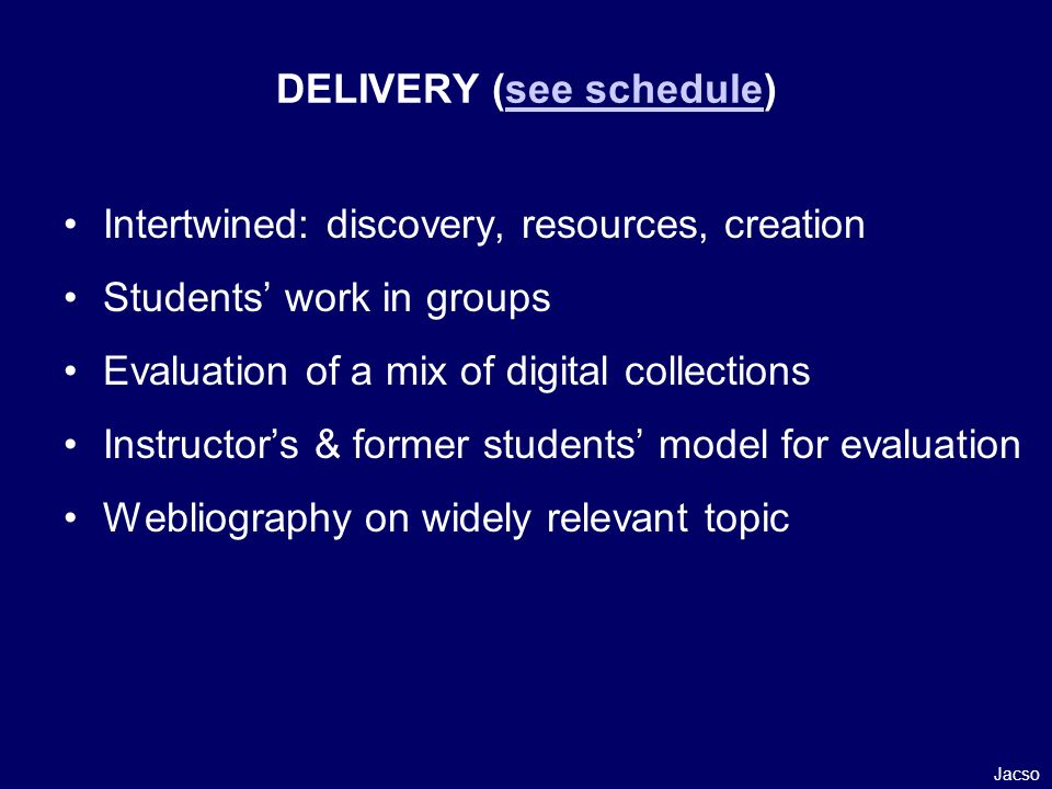 Intertwined: discovery, resources, creation Students work in groups Evaluation of a mix of digital collections Instructors & former students model for evaluation Webliography on widely relevant topic Jacso DELIVERY (see schedule)see schedule