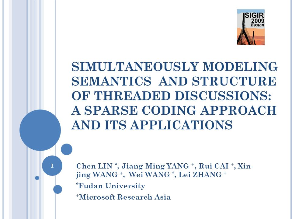 SIMULTANEOUSLY MODELING SEMANTICS AND STRUCTURE OF THREADED DISCUSSIONS: A SPARSE CODING APPROACH AND ITS APPLICATIONS Chen LIN *, Jiang-Ming YANG +,