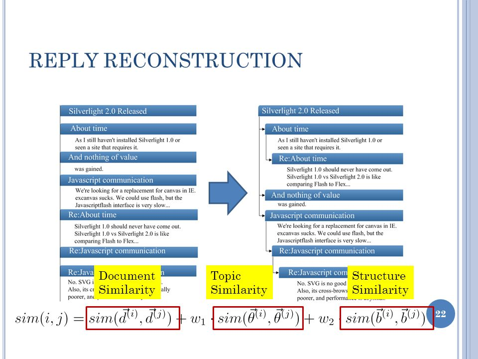 REPLY RECONSTRUCTION 22 Document Similarity Topic Similarity Structure Similarity