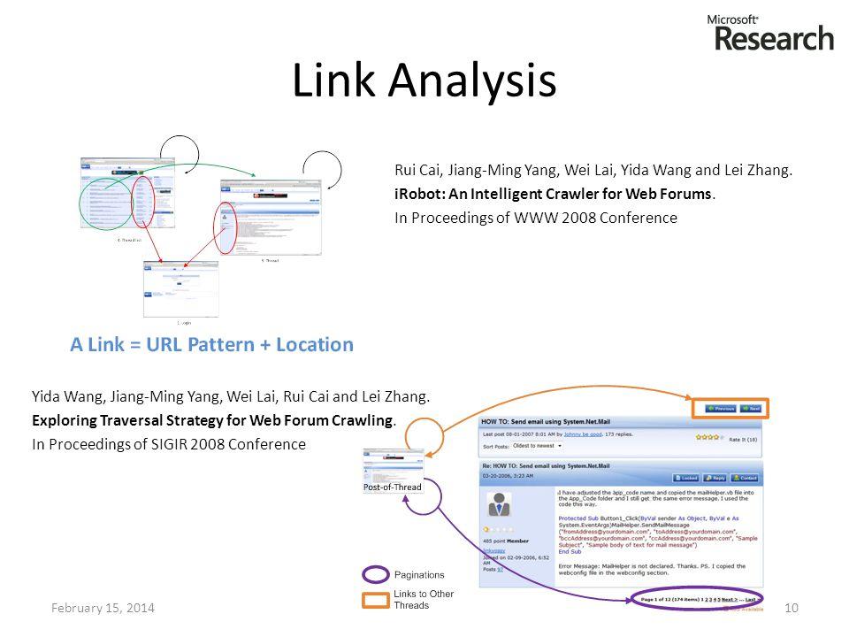 Link Analysis February 15, 201410 Rui Cai, Jiang-Ming Yang, Wei Lai, Yida Wang and Lei Zhang. iRobot: An Intelligent Crawler for Web Forums. In Procee
