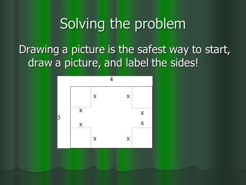 Solving the problem Drawing a picture is the safest way to start, draw a picture, and label the sides!