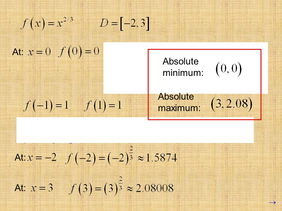 To determine if this critical point is actually a maximum or minimum, we try points on either side, without passing other critical points. Since 0<1,