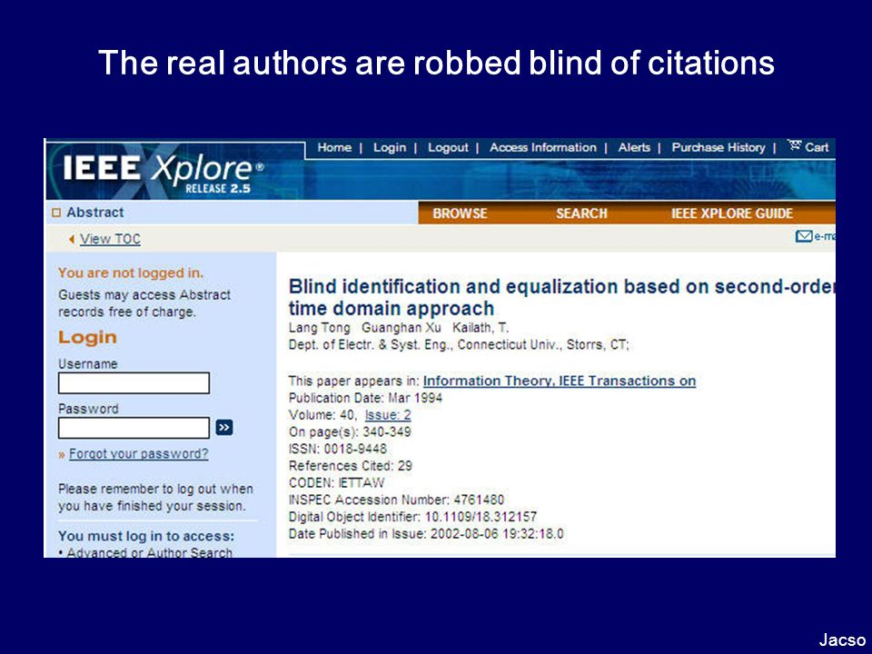The real authors are robbed blind of citations Jacso